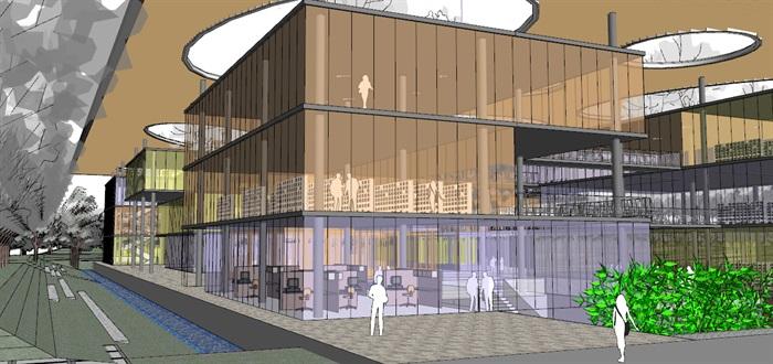 现代创意大屋顶覆盖体块穿插式连廊连接开放式文化图书馆艺术活动中心(5)