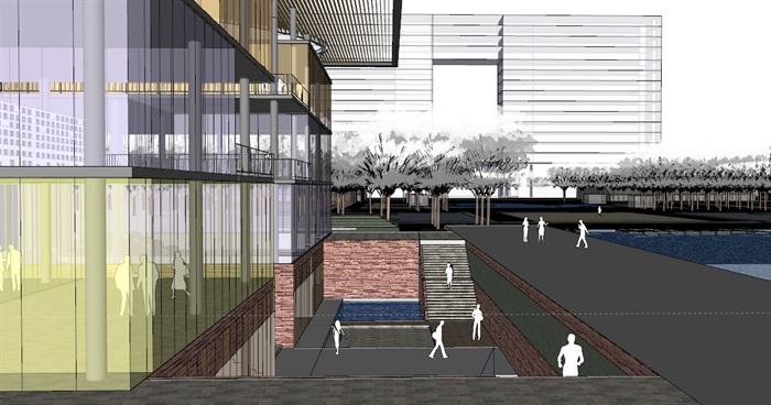 现代创意大屋顶覆盖体块穿插式连廊连接开放式文化图书馆艺术活动中心(7)