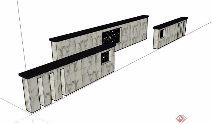 三种不同的组合景墙设计su模型