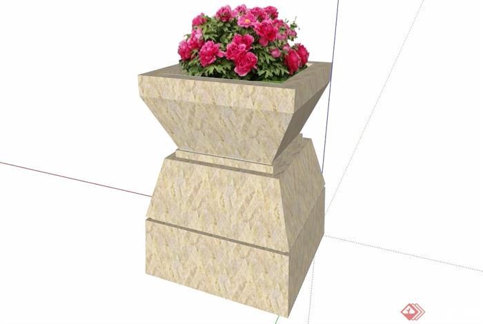 现代花钵素材详细设计su模型