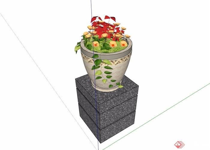 详细的现代花钵素材设计su模型