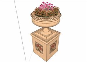 欧式花钵整体详细完整设计SU(草图大师)模型