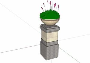 现代风格独特详细的花钵素材设计SU(草图大师)模型