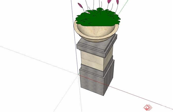现代风格独特详细的花钵素材设计su模型