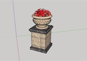 详细的整体完整花钵素材设计SU(草图大师)模型