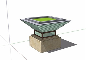 现代详细的完整花钵SU(草图大师)模型