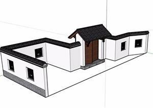 中式详细的完整的围墙素材设计SU(草图大师)模型