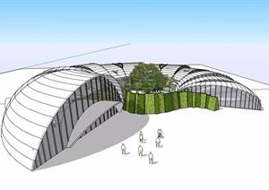 温室大棚独特造型设计SU(草图大师)模型