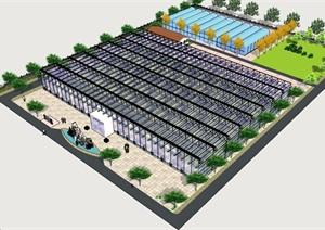 详细的整体完整温室大棚素材SU(草图大师)模型
