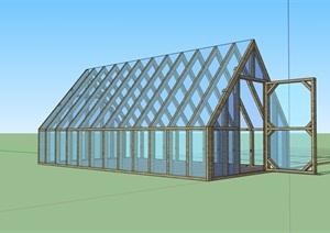 现代玻璃温室大棚素材SU(草图大师)模型