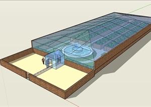 详细的整体完整温室大棚建筑素材SU(草图大师)模型