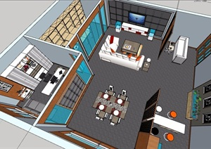 接待售楼处室内精细设计SU(草图大师)模型