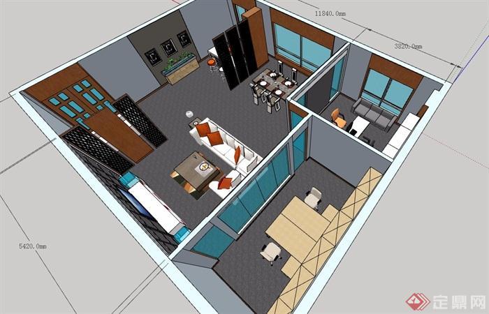 接待售楼处室内精细设计su模型