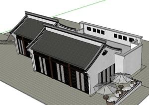 中式风格1层餐厅建筑素材设计SU(草图大师)模型
