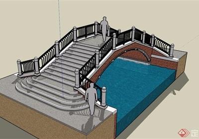歐式風格園林景觀過河園橋設計su模型