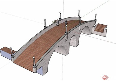 詳細的園林景觀過河園橋su模型