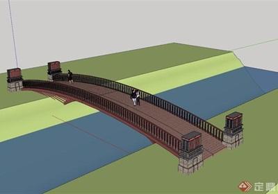 特色欄桿橋設計su模型