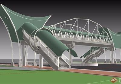 園林景觀詳細的人行天橋素材設計su模型