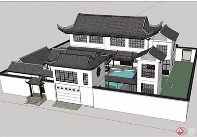 古典中式獨特詳細別墅建筑su模型