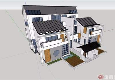 中式雙拼詳細別墅建筑su模型