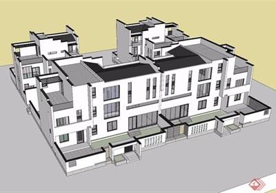 中式兩種不同的別墅建筑su模型