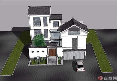 中式獨特詳細的經典完整別墅建筑su模型
