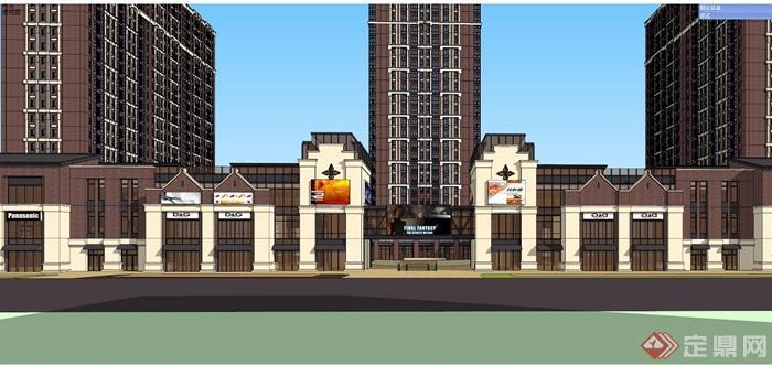 某详细的欧式商业住宅建筑su模型