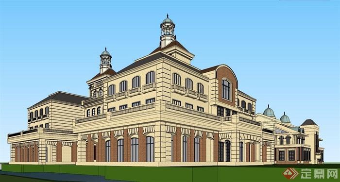 欧式古典酒店项目建筑su模型