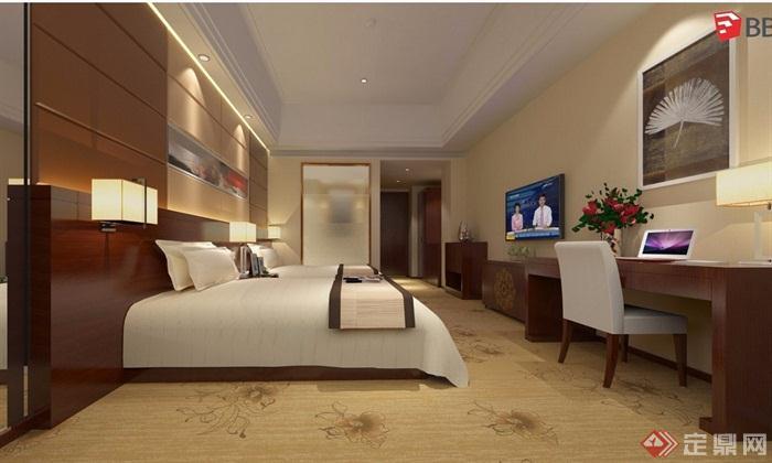 酒店標準間室內設計su模型帶效果圖