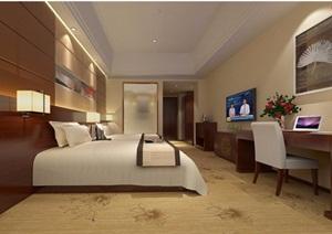 酒店标准间室内设计SU(草图大师)模型带效果图
