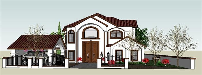 建筑-sketchup构件-住宅_别墅,现代主义,坡顶,2层_3349_0[原创]