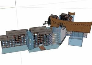 东南亚海棠湾酒店建筑设计SU(草图大师)模型