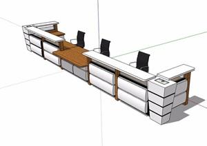 接待用服务台办公桌椅素材设计SU(草图大师)模型