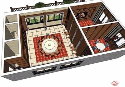 中式酒店详细的包厢设计su模型