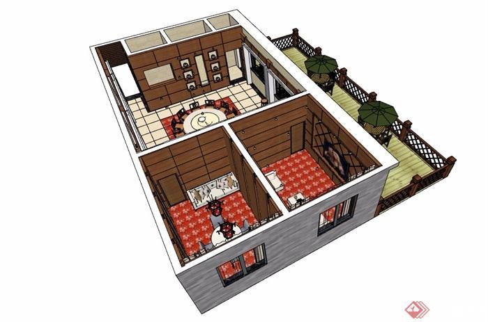 中式酒店詳細的包廂設計su模型