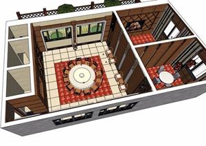 中式酒店详细的包厢设计SU(草图大师)模型