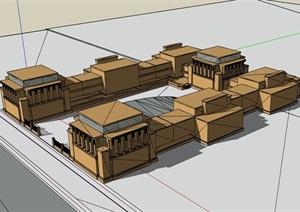 唯一派教堂建筑设计SU(草图大师)模型