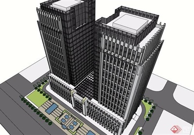综合酒店办公大楼su模型