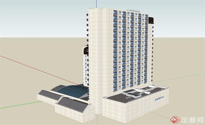 现代星级酒店详细完整设计su模型