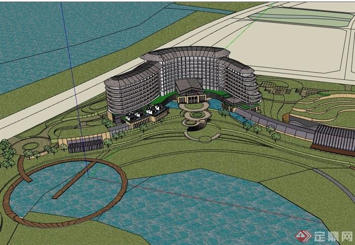 详细的现代五星级酒店设计su模型