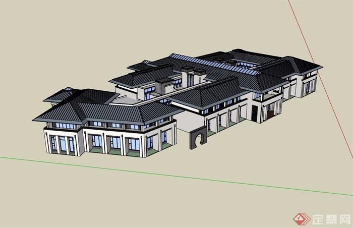 中式酒店详细完整金宝博188电子游艺su模型