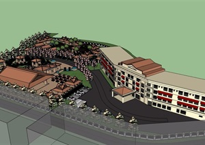 详细的东南亚风格酒店设计SU(草图大师)模型