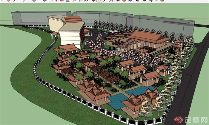 详细的东南亚风格酒店设计su模型