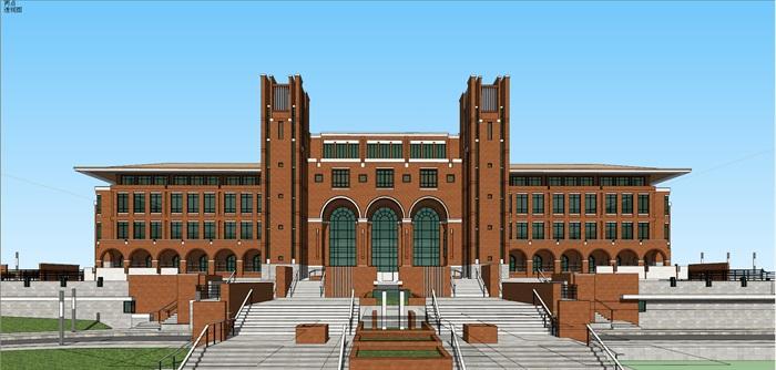 欧式新古典风红砖表皮高校图书馆阅览中心(1)