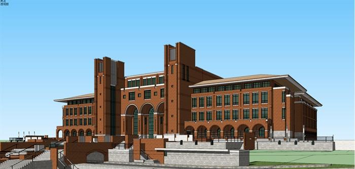 欧式新古典风红砖表皮高校图书馆阅览中心(2)