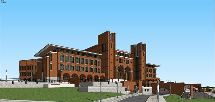 欧式新古典风红砖表皮高校图书馆阅览中心(3)