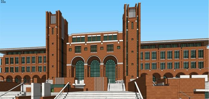 欧式新古典风红砖表皮高校图书馆阅览中心(4)