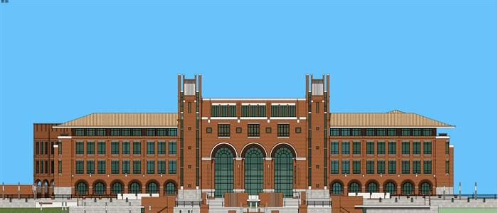 欧式新古典风红砖表皮高校图书馆阅览中心(5)
