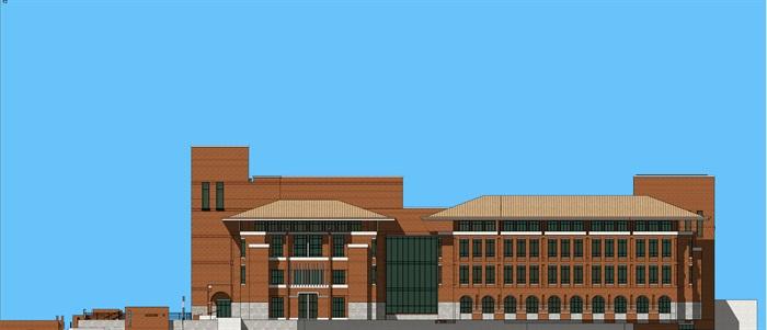 欧式新古典风红砖表皮高校图书馆阅览中心(6)