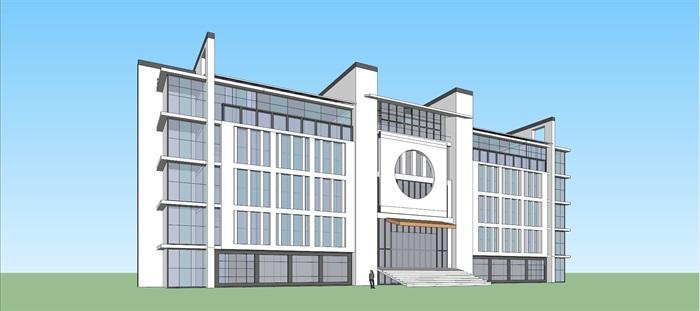 新中式徽式徽派中学教学行政办公综合楼(1)